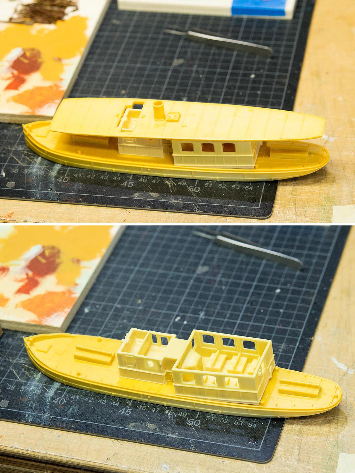 Zum Schluss kommen wir noch zu einem schönen Highlight. Diesen gelben Rohling, der einmal ein Fischkutter war, hat Gaston in fünf Tagen Arbeit zu einem Glasbodenboot umgebaut.