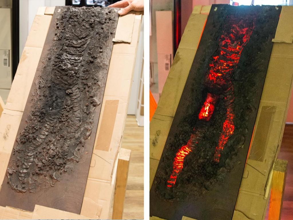 Das spannendste kommt jedoch zum Schluss, der Vesuv. In der Elektrik wird immer noch nach der besten Lösung für die fließende Lava des Vesuvs gesucht. Zurzeit gibt es zwei ganz neue Ansätze die Stefan verfolgt. Zum einen eine Platte, die ausgekühlter Lava ähnelt. Die aber durch die nötige Elektrik dahinter auch zu einem leuchtenden Lavastrom wird.