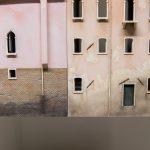 Das Wasser spielt in Venedig eine große Rolle. Denn es nimmt nicht nur eine große Fläche ein, sondern hinterlässt auch an den Häusern seine Spuren.